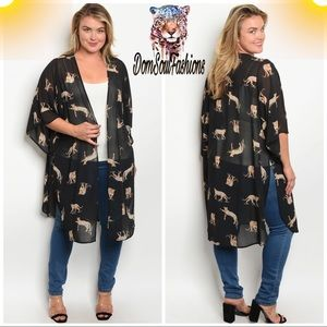 Sweaters - Plus Size Leopard Kimono Cardigan Animal print